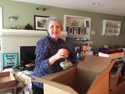 Member Teri packing her treasures